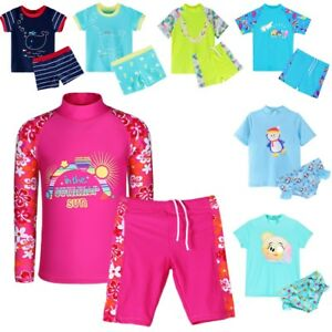 ec4711088d2c0 Kids Girls Boys Swimsuit Swimming Costume 2 PCS SPF +50 Swimwear ...