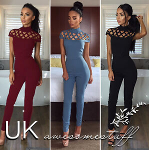 Initiative Uk Womens Choker High Neck Caged Sleeve Playsuit Ladies Jumpsuit Size 6 - 18