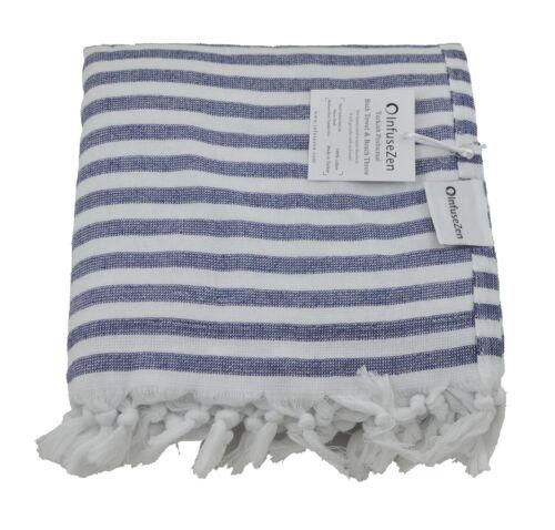 Navy Blue and White Nautical Terry Backed Turkish Peshtemal Beach Bath Towel
