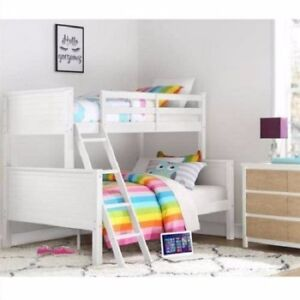 Twin over Full White Wood Bunk Bed Kids Boys Girls Bedroom Furniture ...