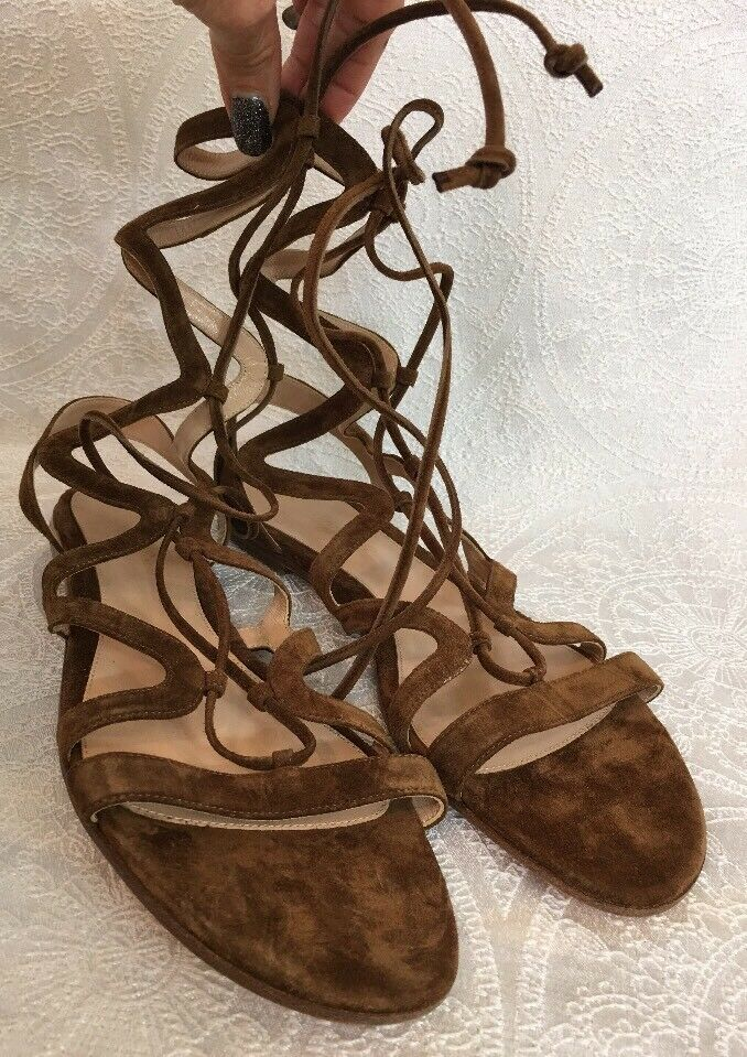 Gianvito Rossi Ankle High Gladiator Sandals Brown Suede New Size 40