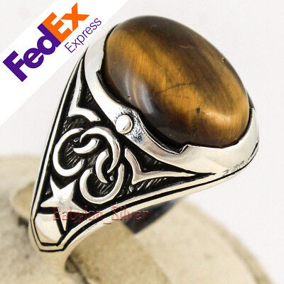 Tigers Eye Stone Turkish Jewelry SCORPION 925 Sterling Silver Men Ring ALL SİZE