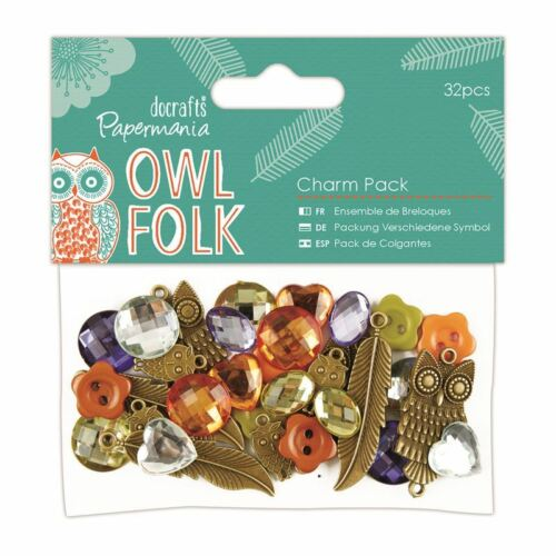 DOCRAFTS PAPERMANIA OWL FOLK BEAUTIFUL CHARMS FOR CARDS AND CRAFTS