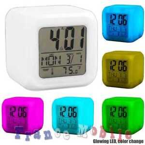 Horloge-Reveil-Alarme-Thermometre-Numerique-LED-Plusieurs-Couleurs-Cube-Blanc