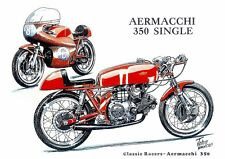 Aermacchi 350cc Single 1950s Racing Racer Motorbike Motorcycle Birthday Card