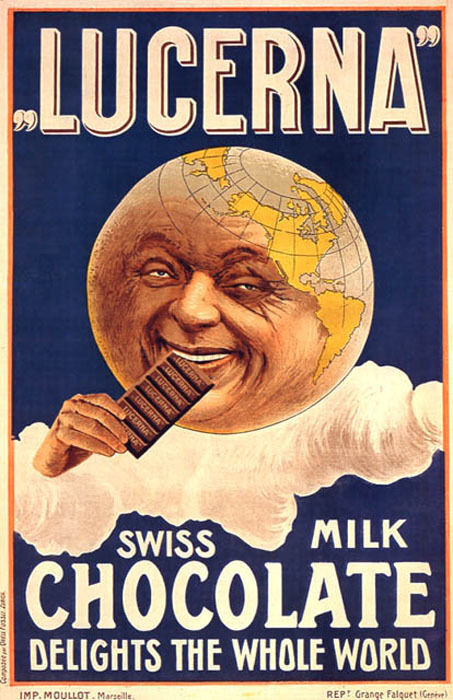 LUCERNA SWISS MILK CHOCOLATE DELIGHTS THE WHOLE WORLD GLOBE VINTAGE POSTER REPRO