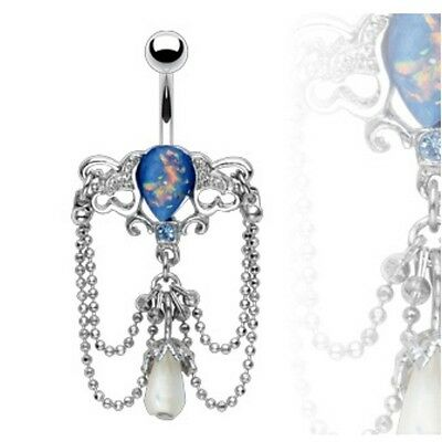 OPALESCENT CHANDELIER BELLY NAVEL RING DANGLE BUTTON PIERCING JEWELRY B445