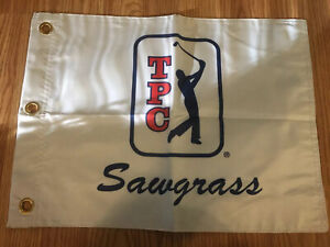 PGA-TOUR-TPC-SAWGRASS-LOGO-PIN-FLAG-WITH-GROMMETS-FREE-SHIPPING-TIGER-WOODS