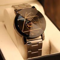 Damenuhr Herren Uhr Edelstahl Armband Quarz Analog Armbanduhren Schwarz Watch
