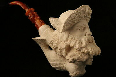 Pirate and Mermaid Hand Carved Meerschaum Pipe by I. Baglan in a fit case 7576