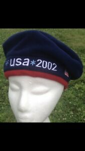 NWT-2002-USA-US-Olympic-Team-Roots-USA-Beret-Patriot-Blue-Fleece-Hat-Beanie