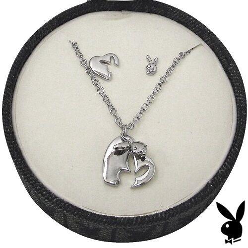 Playboy Jewelry Set Necklace Earrings Silver Heart Bunny Pendant CZ NOS NIB Box