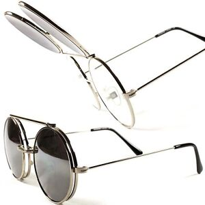 61585a07cd Image is loading Classic-Vintage-Retro-Mirrored-Mens-Womens-Round-Flip-