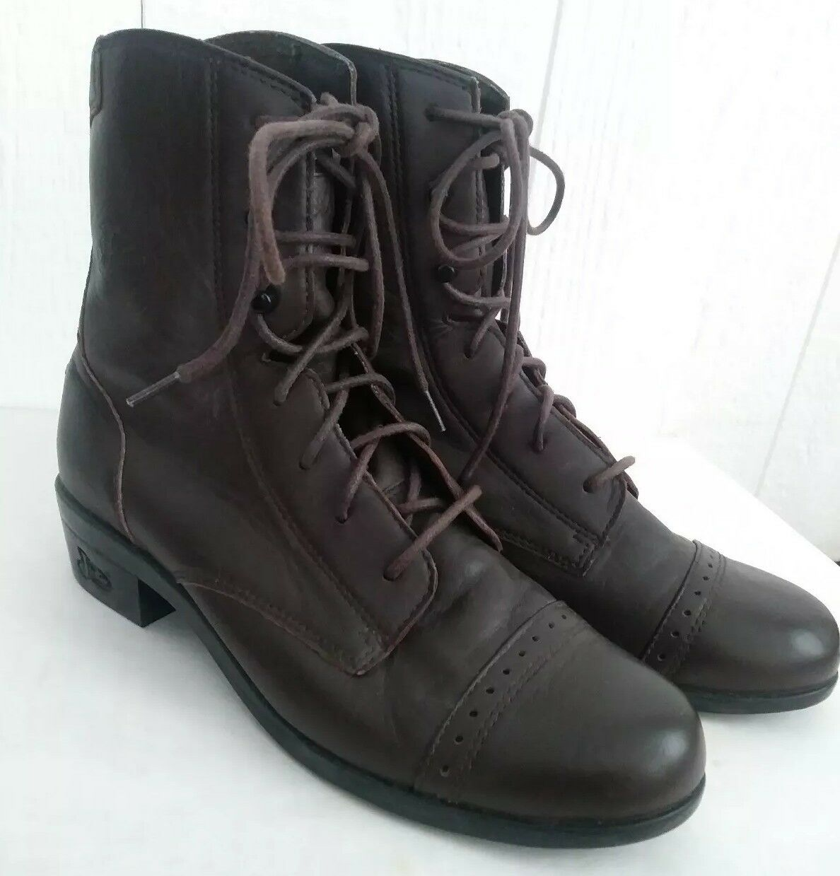 Justin Women's Boots L0623 Brown Leather Lace Up Cap Toe Granny 6.5 6 1 2 B Vtg