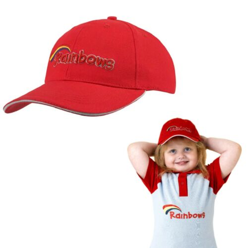 BRAND NEW RED RAINBOWS BASEBALL CAP HAT BROWNIES GIRL GUIDES UNIFORM ONE SIZE UK
