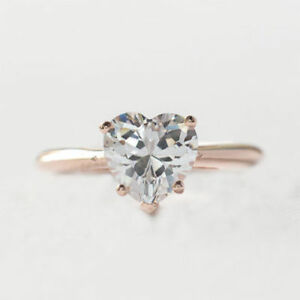 2-CT-Heart-Shape-Diamond-Solitaire-Engagement-Wedding-Ring-14k-Rose-Gold-Over