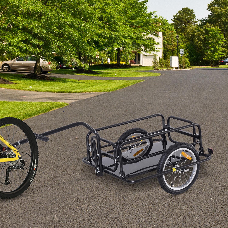 Aosom Utility Bike Cart Carrier Folding Bicycle Cargo Trailer Garden Patio Tool