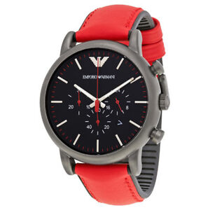 Emporio Armani AR1971 Luigi Chronograph Black Dial Red Leather Men's Wrist Watch
