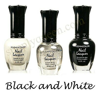 Kleancolor Black and White Collection Nail Polish Lot of 3 Colors Set Lacquer