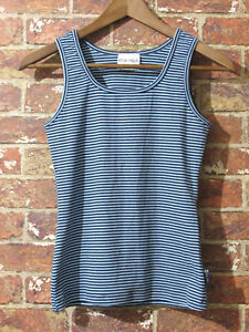 MARIMEKKO-Ritva-Falla-sz-S-Blue-Black-Striped-Sleeveless-Top-Tank-M-Sport-Shirt