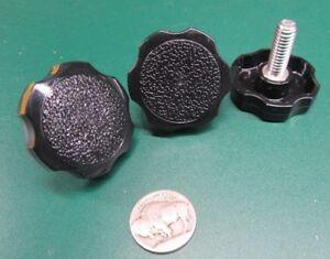 """5 Pc 3//8/""""-16 x 1.00/"""" Length Plastic Black Rosette Stainless Thumb Screw"""