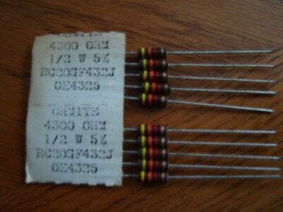 CARBON COMP RESISTORS 1//2 WATT 5,600 OHMS LOT OF 5 NEW