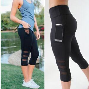 ee69b427b544 Image is loading High-Waist-Women-Capri-Yoga-Fitness-Legging-Running-