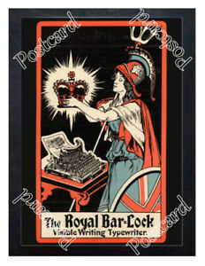 Historic-The-Royal-Bar-Lock-typewriter-1900s-Advertising-Postcard-1