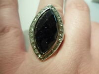 Blue Goldstone Ring W/white Austrian Crystal Accents In Stainless Steel-size 7