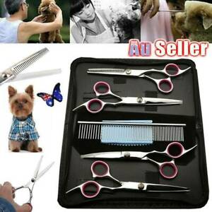 6PCS-7-034-Professional-Pet-Scissors-Shears-Set-Stainless-Steel-Dog-Cat-Grooming-AU