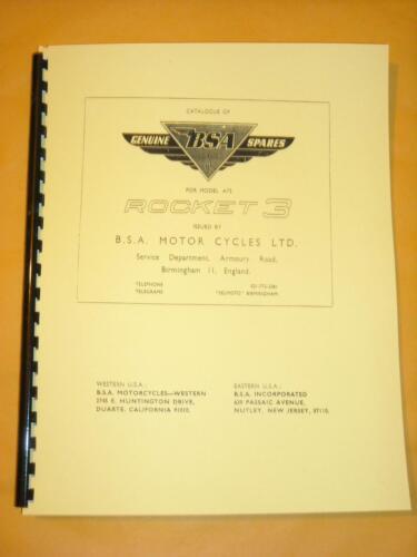 FITS 1969 BSA A75 ROCKET 3 750 TRIPLE PARTS BOOK MANUAL  00-5141 Rocket3