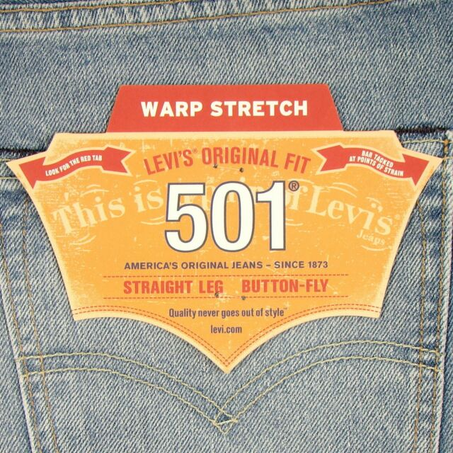 584b6ca4 Levis 501 Jeans Original New Mens Size 34 x 34 LIGHT BLUE STRETCH Levi's NWT