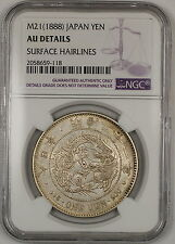 M21(1888) Japan 1 Yen Silver Coin NGC AU Details Surface Hairlines