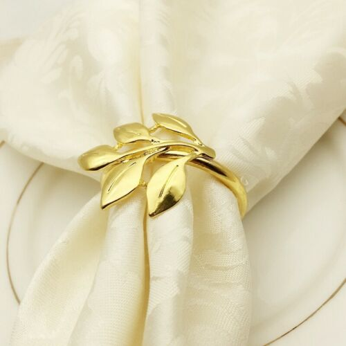 6Pcs//Lot Hotel Napkin Ring Napkin Holder Fall Leaves Napkin Buckle Christm nj 1X