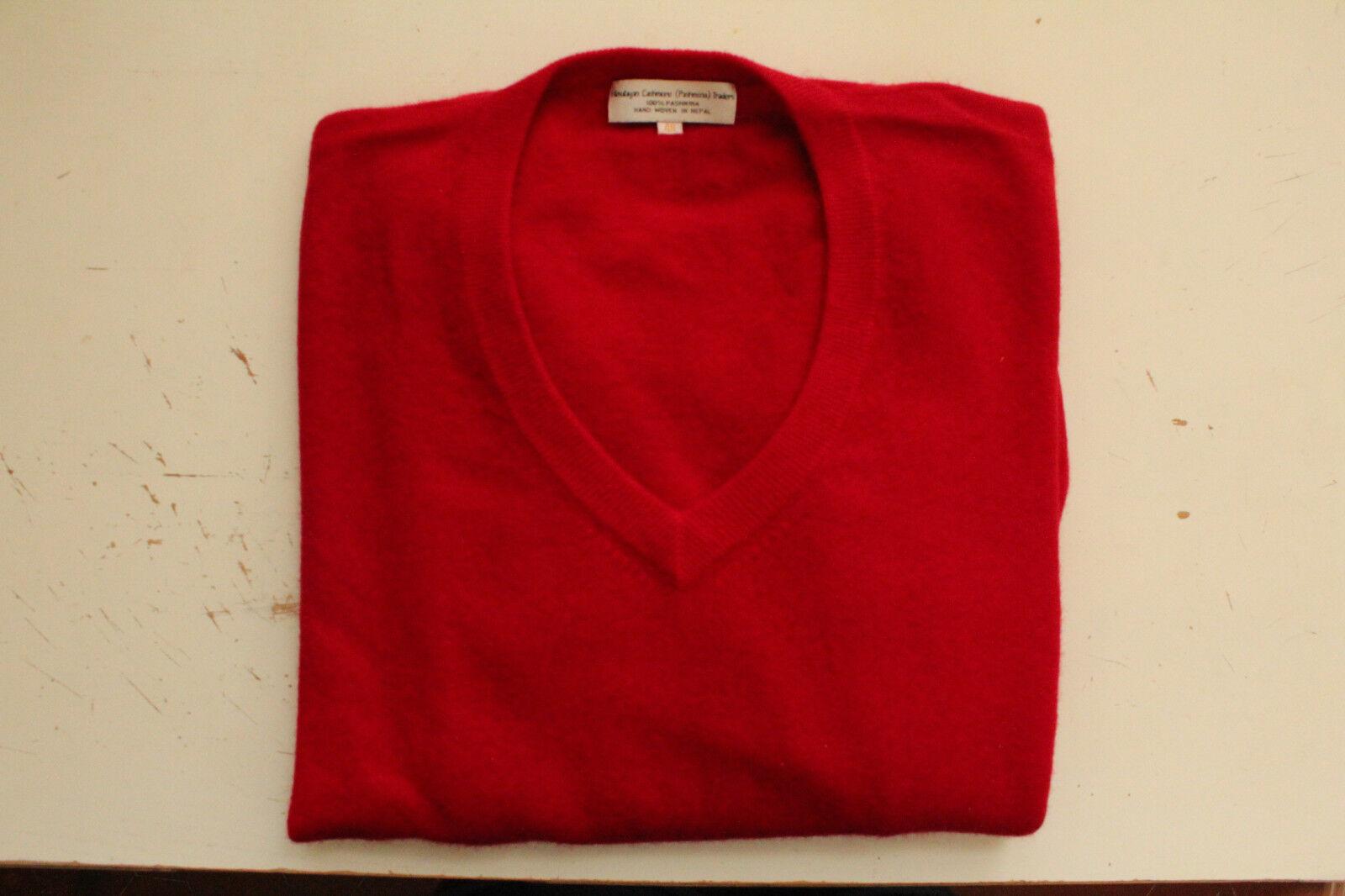 Superbe pull rouge en V Himalayan Pashmina Pashmina Pashmina Traders 100% cashmere (Tissé main) 619413