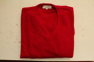 Superbe-pull-rouge-en-V-Himalayan-Pashmina-Traders-100-cashmere-Tisse-main