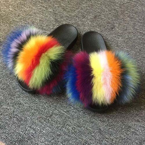 Colorful Real Fox//Raccoon Fur Sliders Slipper Women Summer Shoes Sandals Fluffy