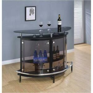 Modern Black Finish Curved Front Bar With Tempered Glass Shelves / Chrome Accent