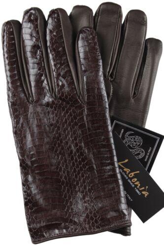 NWT LABONIA GLOVES genuine python brown cashmere handmade Italy 9