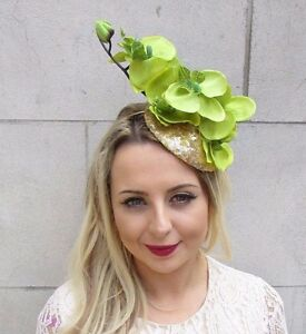 Image is loading Gold-Light-Green-Orchid-Flower-Fascinator-Pillbox-Hat- 04dab199463
