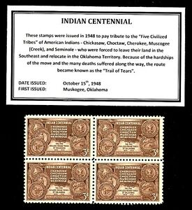1948 - INDIAN CENTENNIAL - Vintage Mint -MNH- Block of Four Postage Stamps