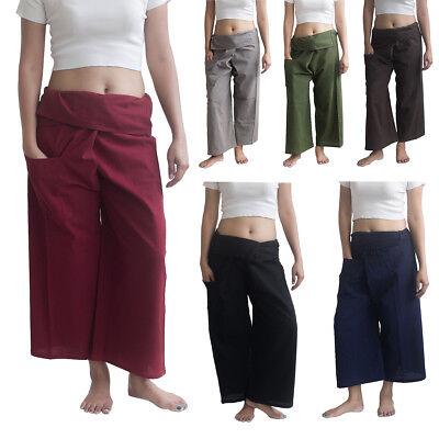 Womens Plain Thai Fisherman Pants Ladies Palazzo Yoga Cotton Ladies Full Length