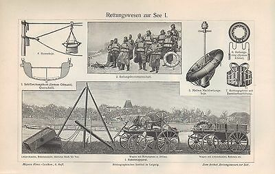 EntrüCkung Lithografie 1908: Rettungswesen Zur See. Rettungsboot Hosenboje Cordessche Büchs