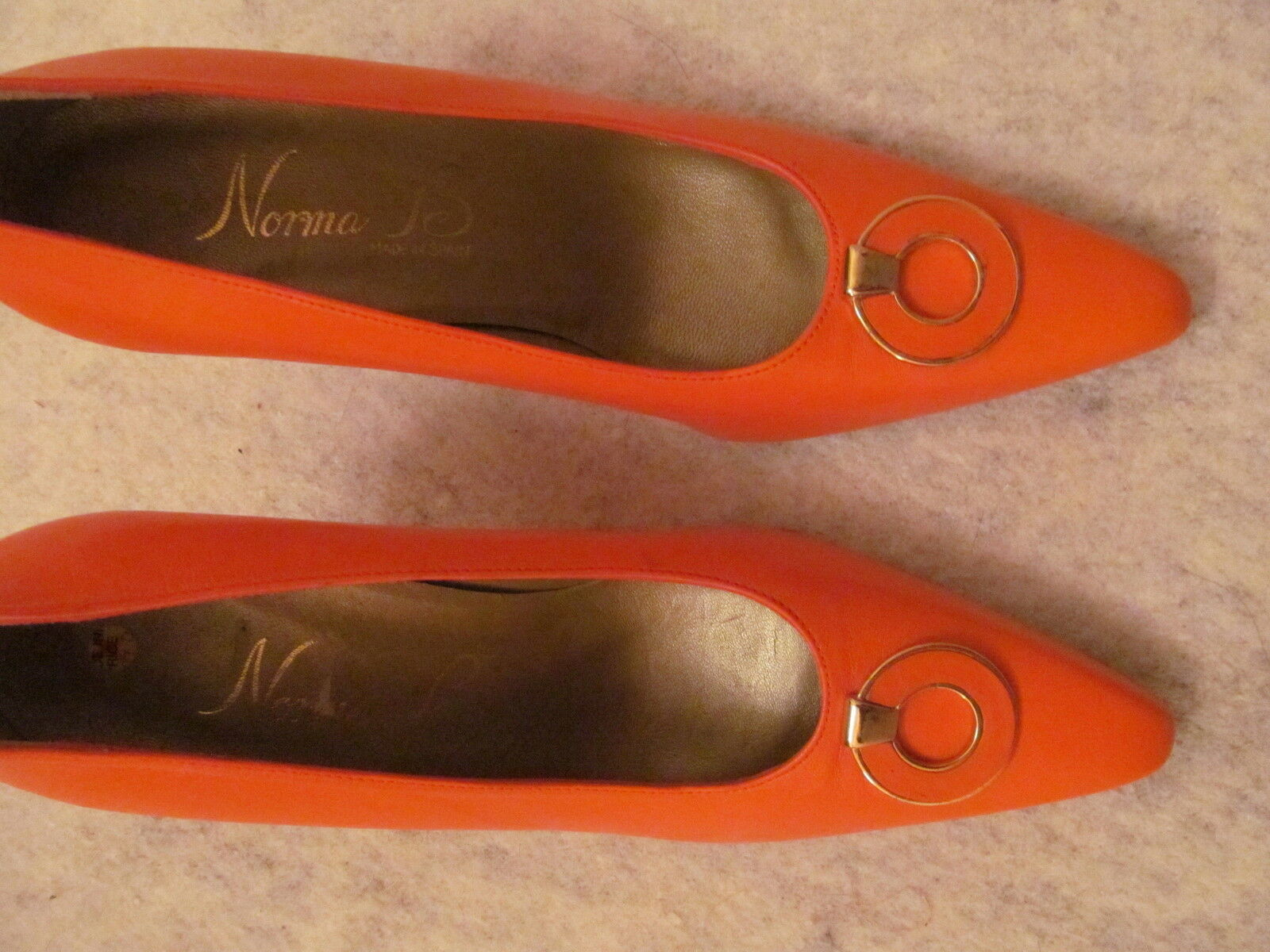 Vintage NORMA B bright orange art deco mod leather high heel shoes 6.5 NWOB