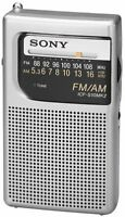 Sony Am Fm Radio Hand Held Travel Pocket Small Camp Portable Silver Handheld
