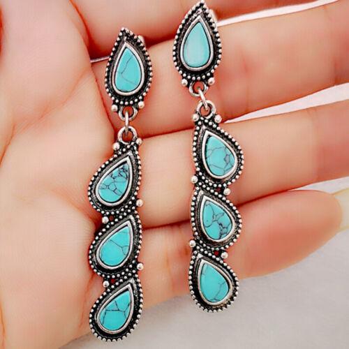 1 Pair Water Drop Earrings Boho Women Dangle Turquoises Bohemian Jewelry Gift ZT