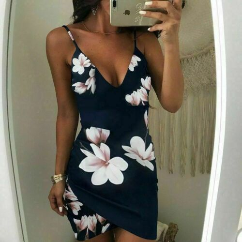 Women Floral Plunge Strappy Bodycon Dress Summer Party Backless Mini Dress 6-12