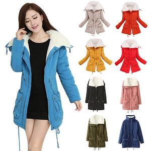 Fashion Women Winter Warm Casual Cotton Wool Thick Padded Lapel Jacket Coat Hot