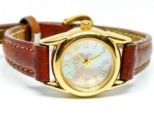 FOSSIL-Watch-PC-9536-PC9536-Pearl-19mm-face-maroon-leather-band