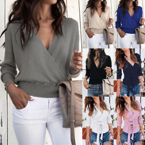 UK-Womens-V-Neck-Long-Sleeve-Sweater-Ladies-Ribbed-Jumper-Pullover-Tops-Blouse